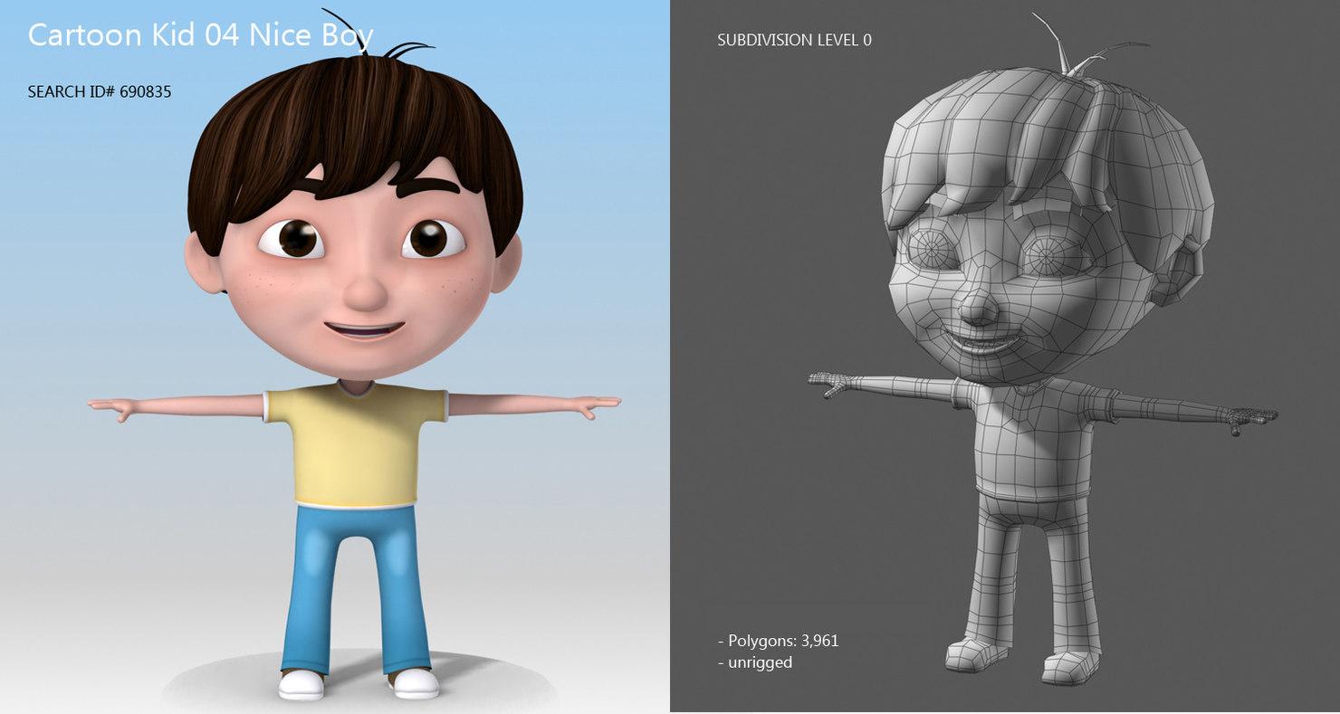 little boy with dark hair 3d model