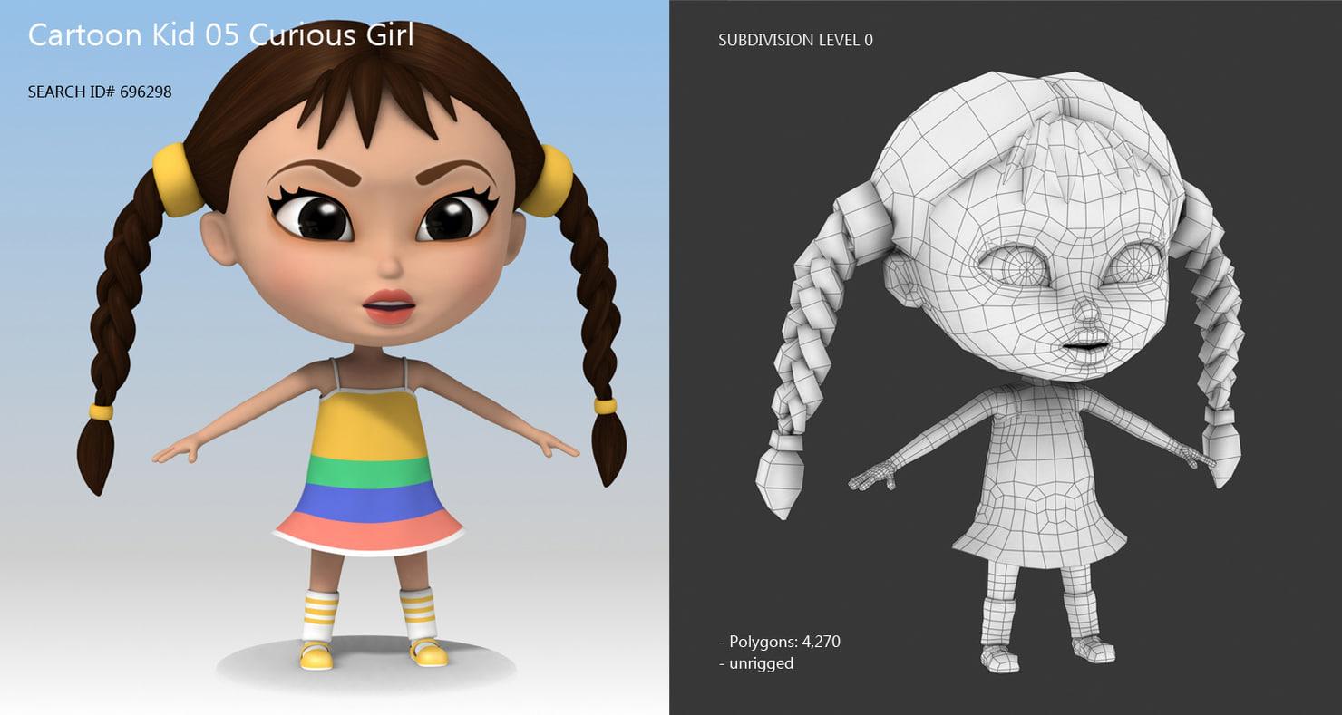 little girl with dress 3d cartoon kid