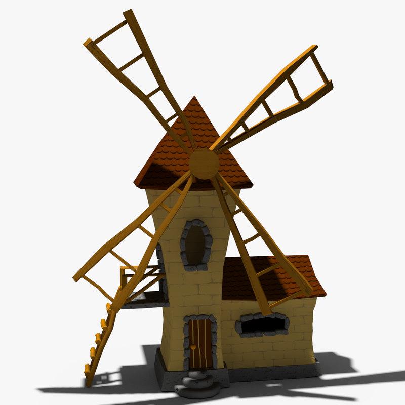 3d model of cartoon windmill