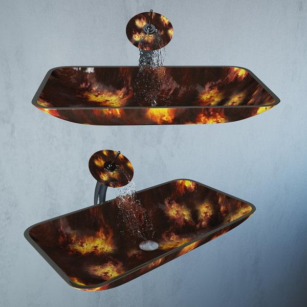 3d glass wash basin kraus