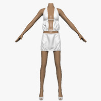 3ds max skirt white female mannequin