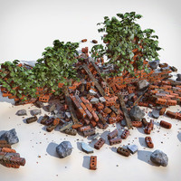Brick Wall Realistic Damaged destroyed detailed V ray v-ray Vray red orange countryside junk