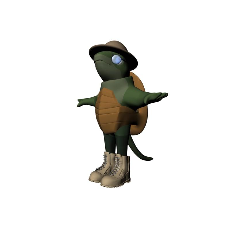 cartoon turtle explorer obj