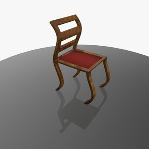 curved chair wood fabric 3d obj
