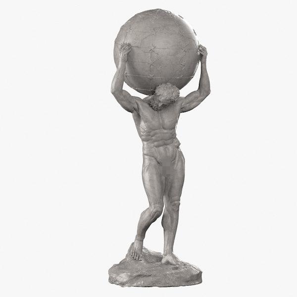 3d model atlas sculpture bronze