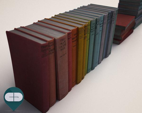 3d colored books model
