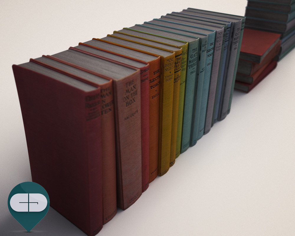 3d colored books model