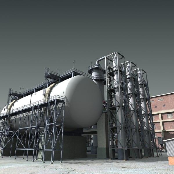 refinery industry factory 3d model