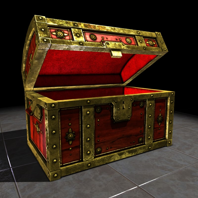 fine treasure chest gold 3d obj