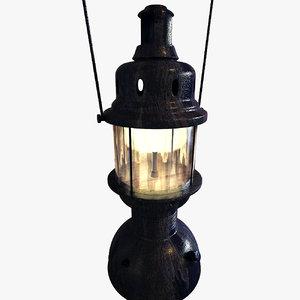 3d rusted lantern lamp model