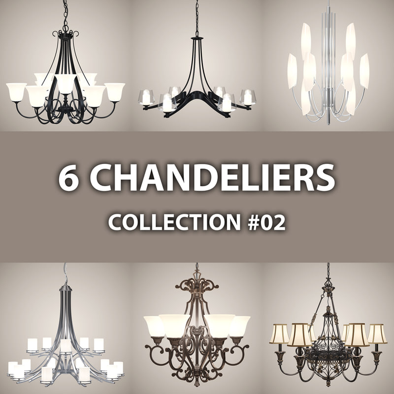 3d 6 chandelier lights model