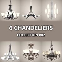 3d 6 chandelier lights model