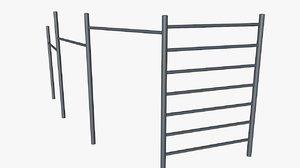 free horizontal bar 3d model