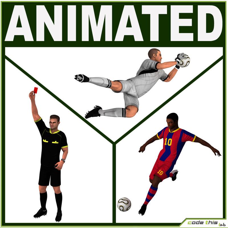 3d model of team soccer