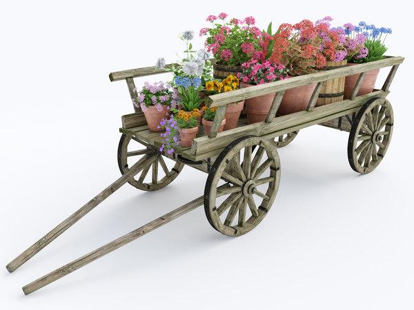 3d ornamental wooden cart pots