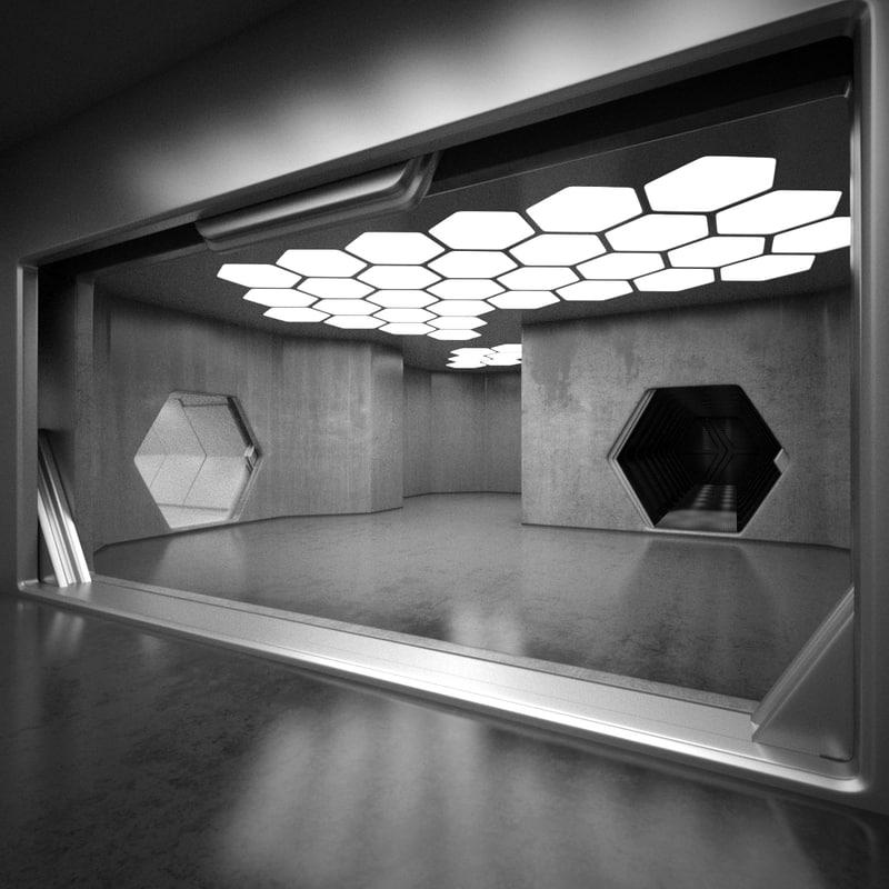 4 sci fi interiors 3ds