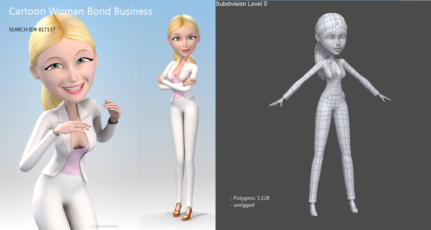 cartoon blonde woman 3d model