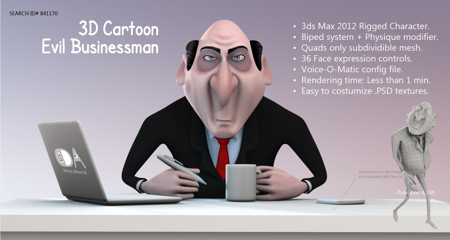 cartoon evil businessman boss 3d model rigged