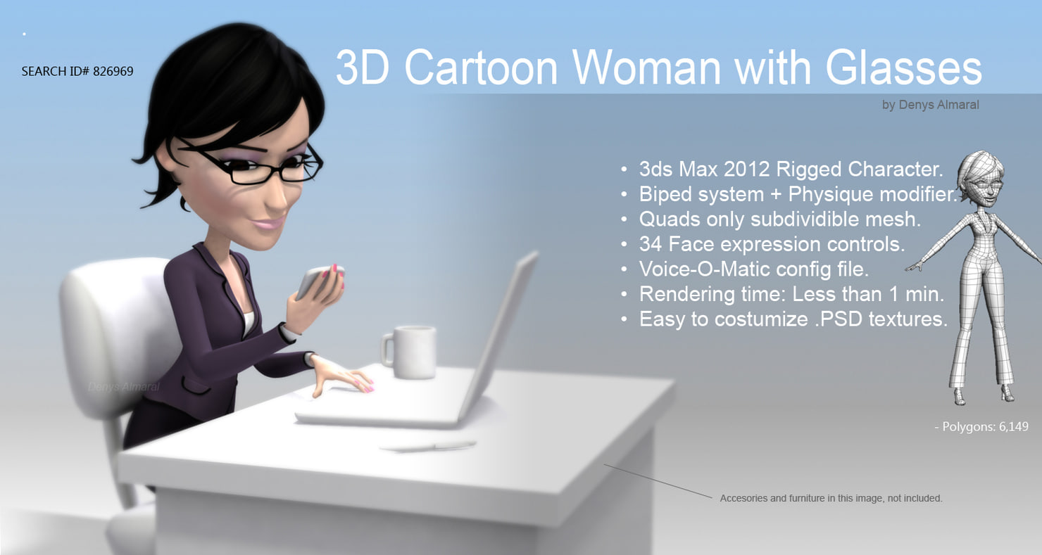 3d cartoon woman in office rigged