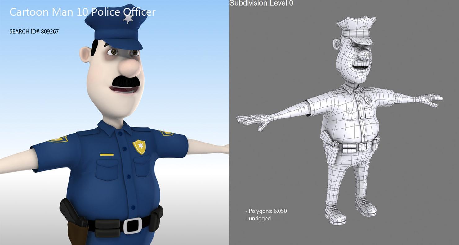 cartoon police officer 3d model