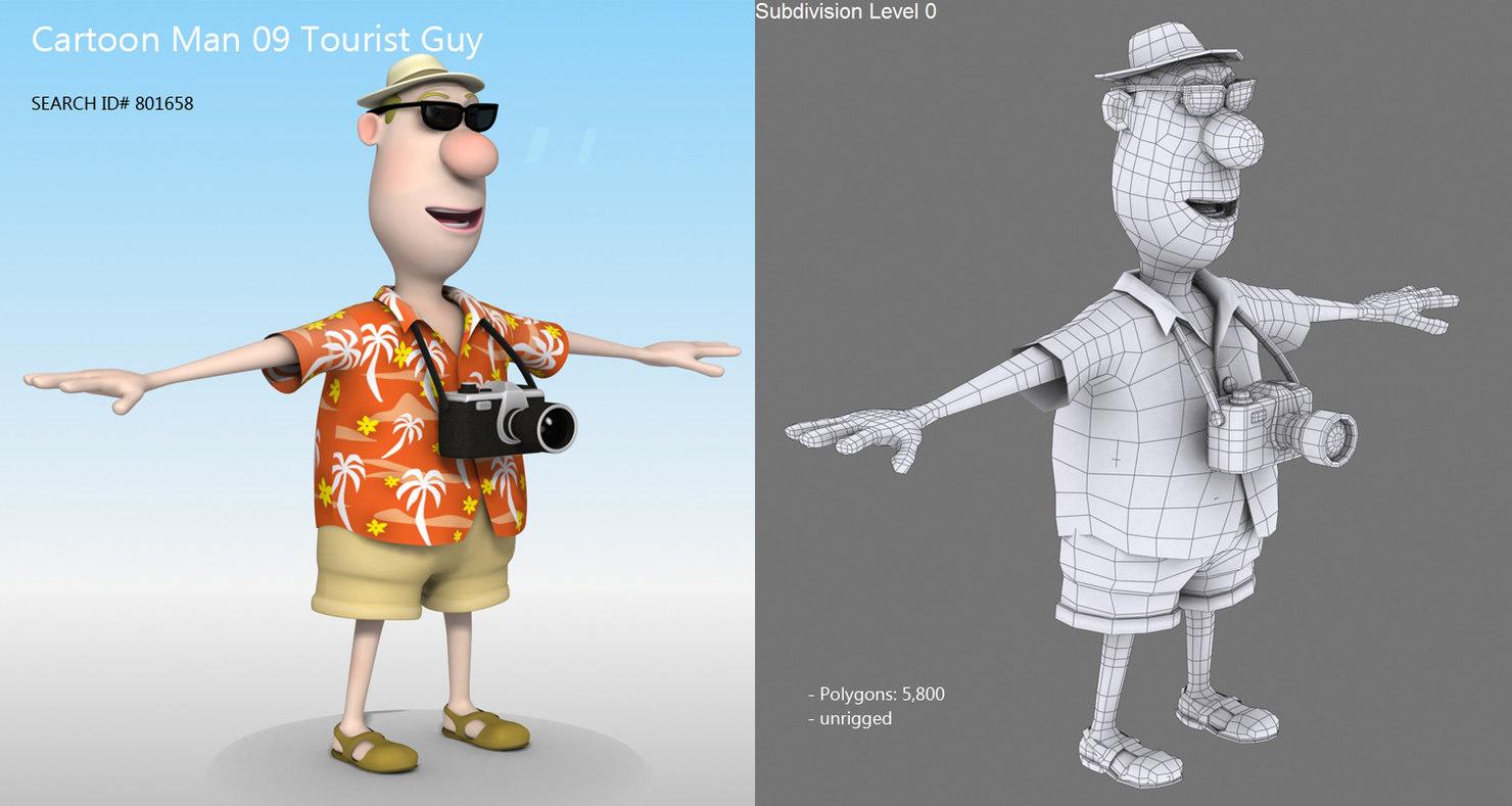 tourist man 3d model