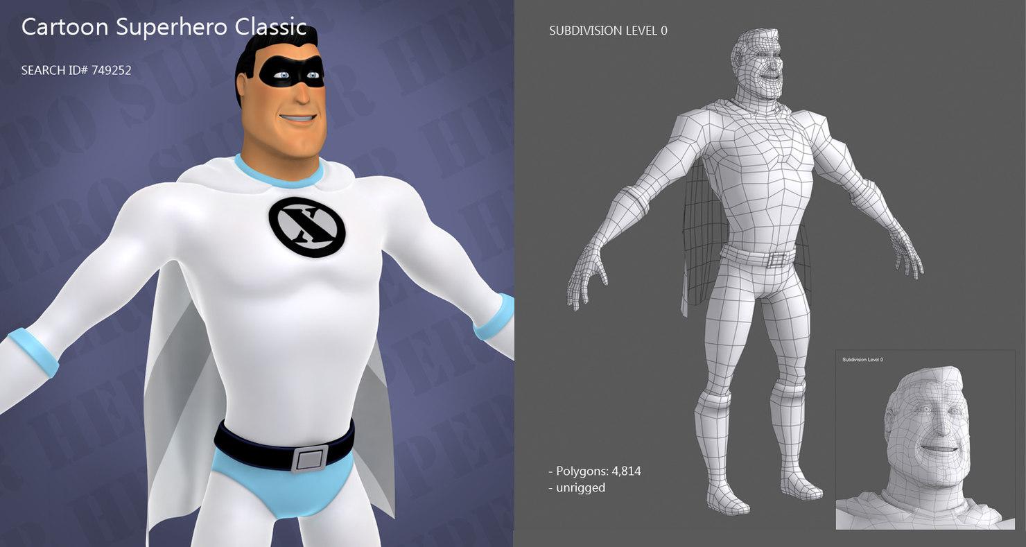 classic superhero 3d model