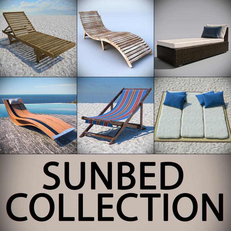 3d beach sunbed