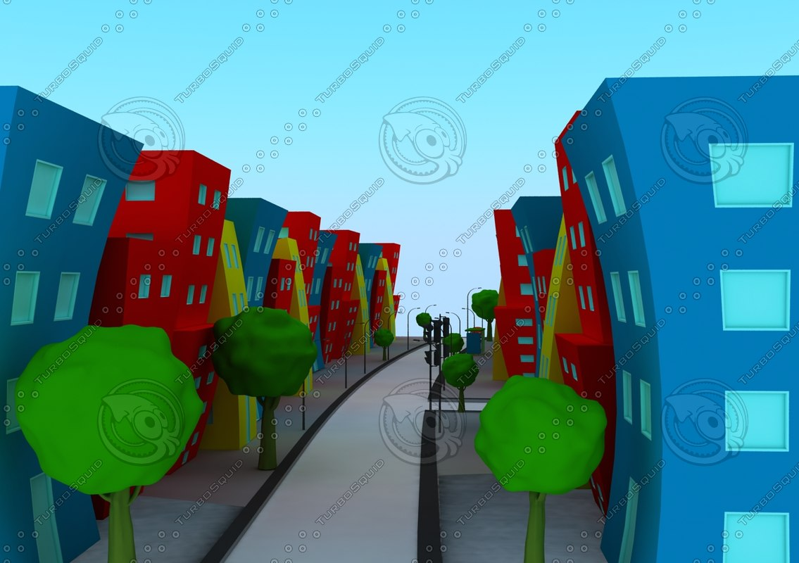 cartoon city 3d model