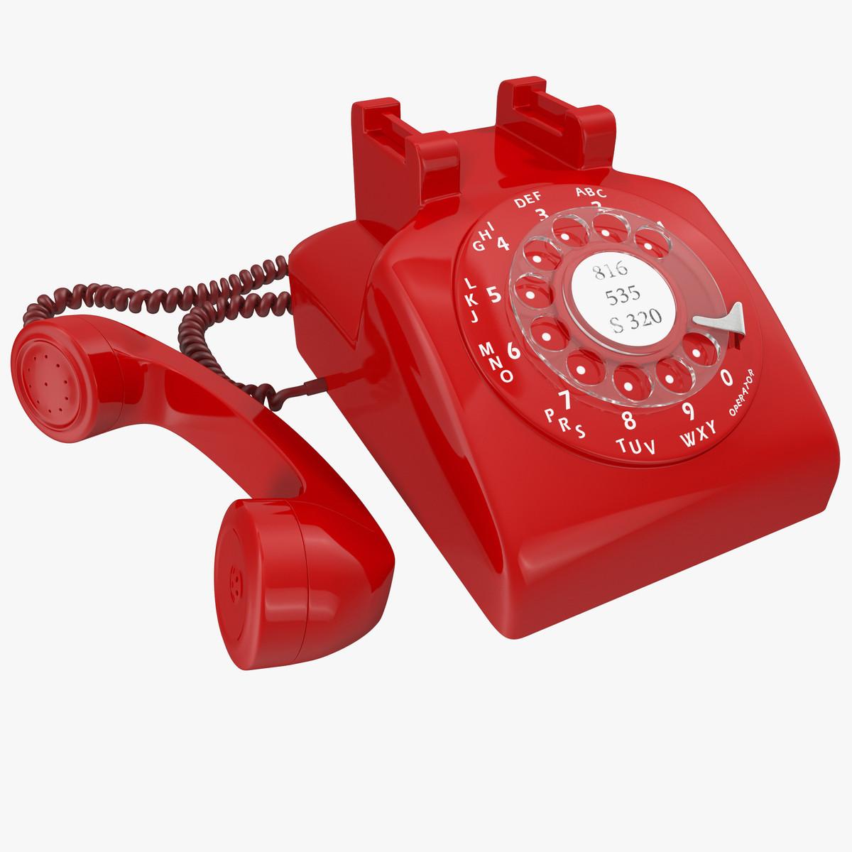red rotary phone obj
