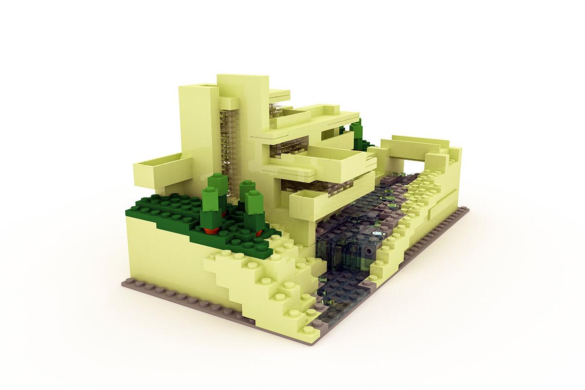 3d model fallingwater lego
