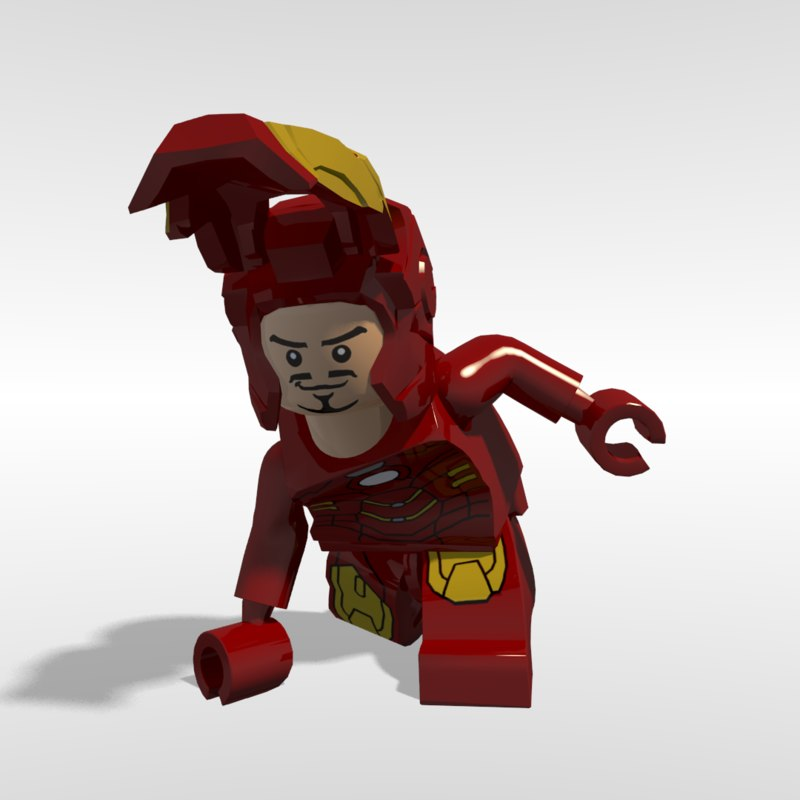 3d lego iron man rigged model