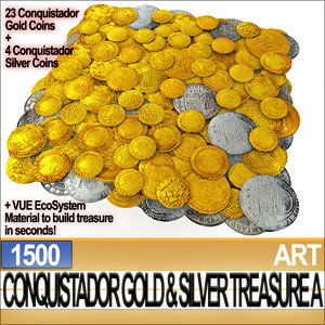 3d conquistador gold silver treasure model
