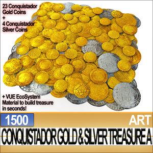 3d conquistador gold silver treasure model