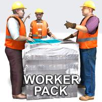 workers pallet loads 3d model