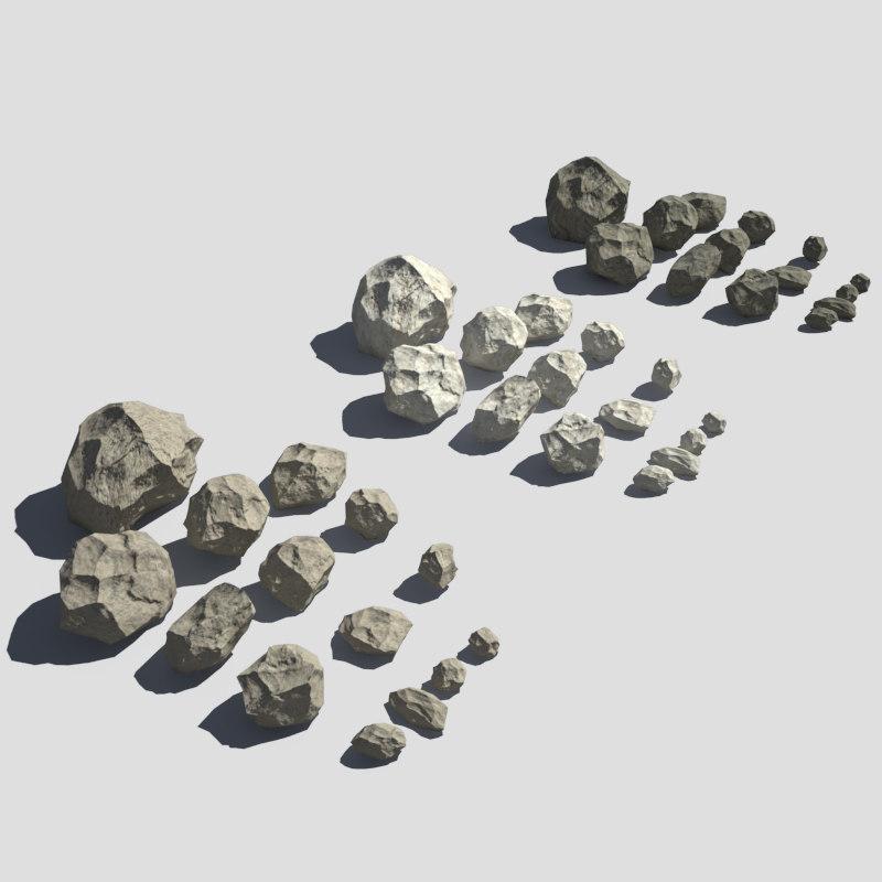 3d rocks pack v-ray model