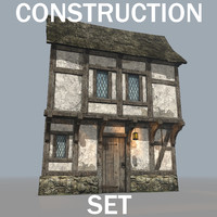 medieval timber framed building 3d blend