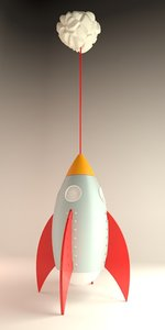 3d rocket lamp light