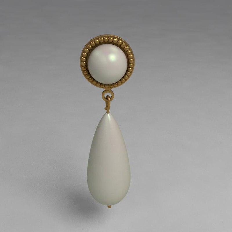 opal earrings 3d max