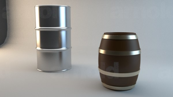 free barrels metal wooden 3d model