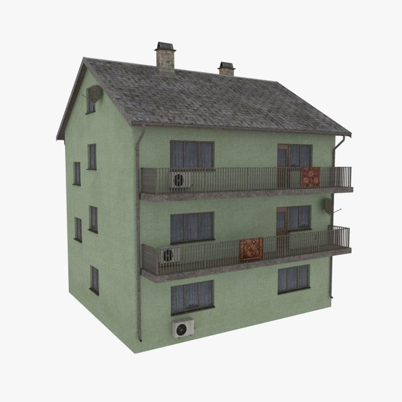 storey apartment building 3d model