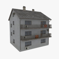 3d model rural apartment building