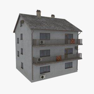 3d model rural apartment building