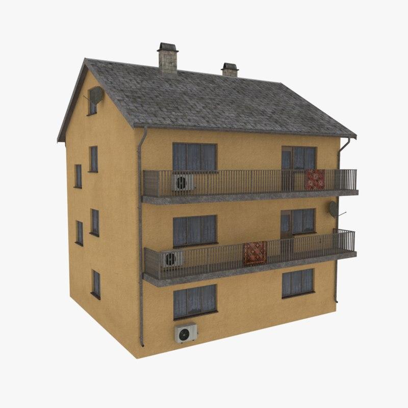 3d model storey apartment building
