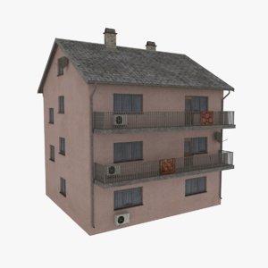 storey apartment building 3d obj