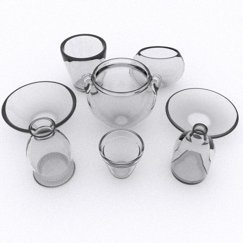 glass decorations pottery 3d 3ds
