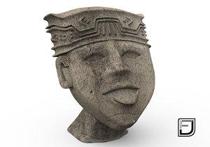 3d happy face olmeca culture model
