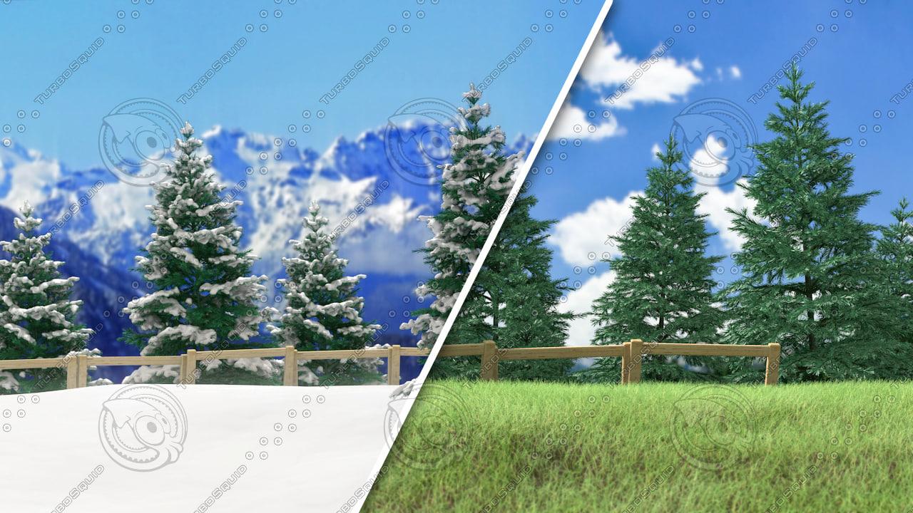 pine tree forest - obj