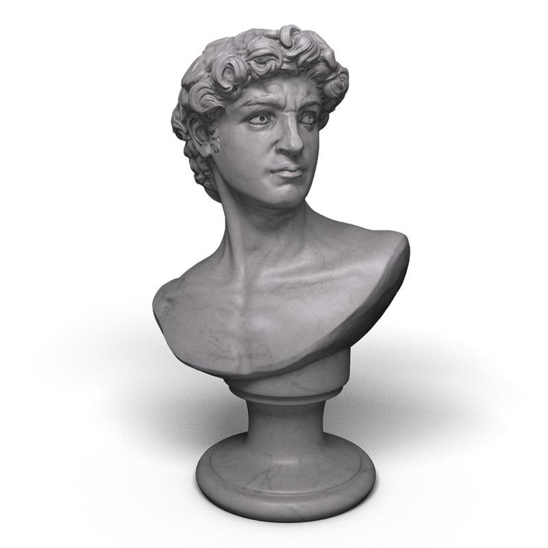 3d david statue bust modeled model