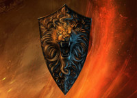 gold lion shield 3d fbx