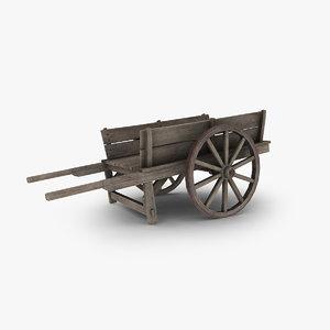 wooden cart 3d max